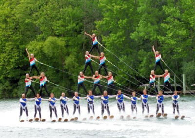 Lake City Skiers in Pyramid Formation