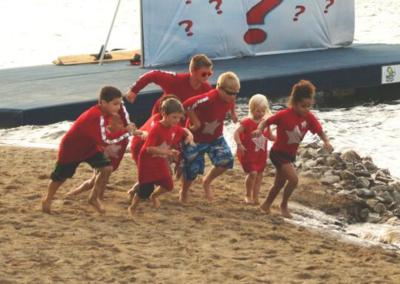 Kids Playing By Lake